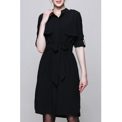 Stand Collar Belted Solid Color Shirt Dress