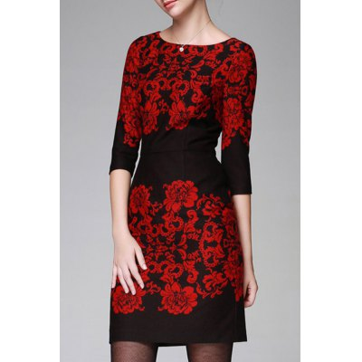 Floral Pattern Bodycon 3/4 Sleeve Dress