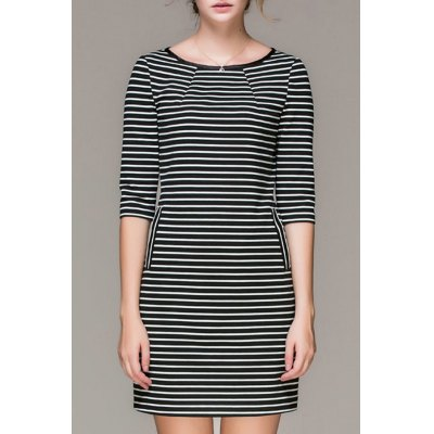 Striped Mini Double Pockets Dress