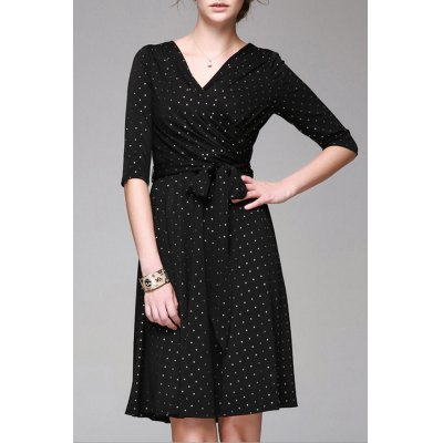V Neck Polka Dot Print Half Sleeve Dress
