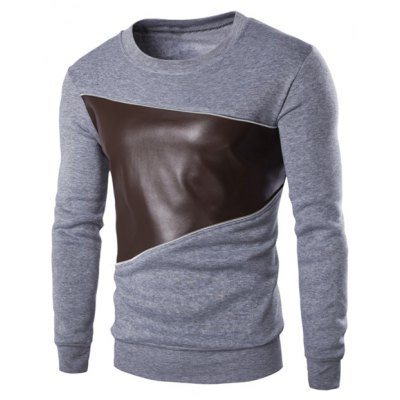 Color Block PU Leather Splicing Round Neck Long Sleeves Sweatshirt For Men
