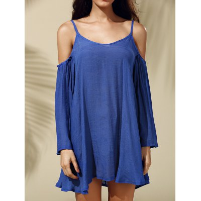 Strappy Cold Shoulder Solid Color Dress For Women