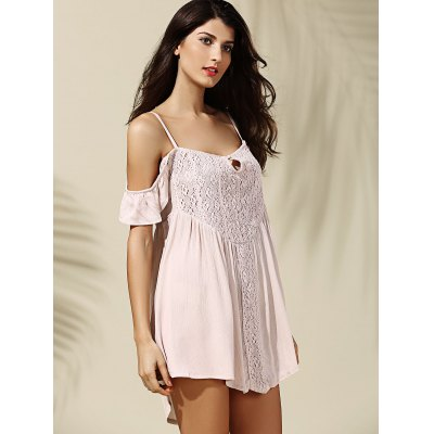 Casual Short Sleeves Spaghetti Strap Off-The-Shoulder Asymmetrical Dress For Women