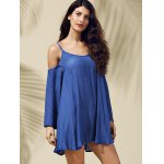 Stylish Strappy Cold Shoulder Solid Color Dress For Women deal