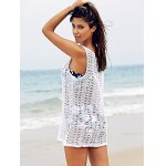 Basic U Neck Sleeveless Crochet Pattern Pure Color Cover-Up For Women for sale