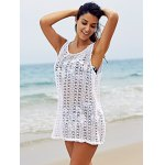 Basic U Neck Sleeveless Crochet Pattern Pure Color Cover-Up For Women deal