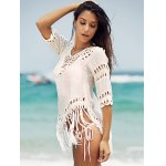 Chic V-Neck Crochet Pattern 3/4 Sleeve Cover-Up For Women deal