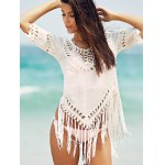 cheap Chic V-Neck Crochet Pattern 3/4 Sleeve Cover-Up For Women