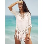 Chic V-Neck Crochet Pattern 3/4 Sleeve Cover-Up For Women photo