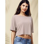 cheap Casual Style Jewel Collar Half Sleeve Solid Color Crop Top For Women