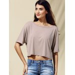 Casual Style Jewel Collar Half Sleeve Solid Color Crop Top For Women deal
