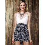 cheap Stylish Strappy Lace Panelled Backless Romper For Women