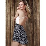 Stylish Strappy Lace Panelled Backless Romper For Women for sale
