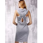 Stylish Hooded Cross Back Cut Out Dress For Women for sale