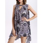 cheap Fashion Round Neck Cut Out Print Loose Dress For Women