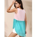 Refreshing Color Block Chiffon Tank Top For Women for sale