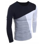 Fashionable Round Neck Classic Color Splicing Slimming Long Sleeves Men's T-Shirt