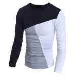 cheap Fashionable Round Neck Classic Color Splicing Slimming Long Sleeves Men's T-Shirt