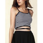Trendy Spaghetti Strap Striped Lace-Up Women's Crop Top