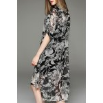 cheap Printed Asymmetric Shirt Dress and Tank Top Twinset