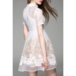 cheap Stand Collar Tiny Floral Lace Spliced Dress