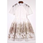 Stand Collar Tiny Floral Lace Spliced Dress photo