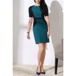Round Collar Color Block OL Dress for sale