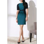 Round Collar Color Block OL Dress deal