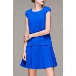 Round Collar Solid Color Dress