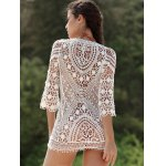 Stylish Scoop Neck 3/4 Sleeve Lace Crochet Women's Dress deal