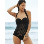 Lace Panel One-Piece Strapless Bathing Suit deal