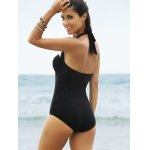 Lace Panel One-Piece Strapless Bathing Suit for sale