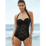 cheap Lace Panel One-Piece Strapless Bathing Suit