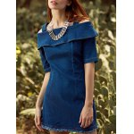 Stylish Straps Half Sleeve Flounce Ruffles Cold Shoulder Women's Dress