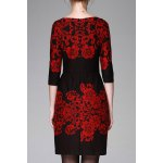 cheap Floral Pattern Bodycon 3/4 Sleeve Dress