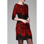 Floral Pattern Bodycon 3/4 Sleeve Dress deal