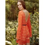 Trendy Round Collar Flare Sleeve Backless Lace Dress For Women photo