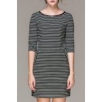 Striped Double Pockets Mini Dress