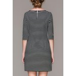 cheap Striped Double Pockets Mini Dress
