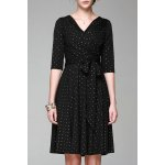 V Neck Polka Dot Print Half Sleeve Dress deal