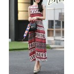 cheap Ethnic Print Waisted Long Dress For Women