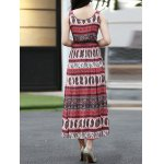 Ethnic Print Waisted Long Dress For Women deal