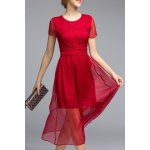 Short Sleeve High Waisted Solid Color Dress