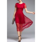 Short Sleeve High Waisted Solid Color Dress deal