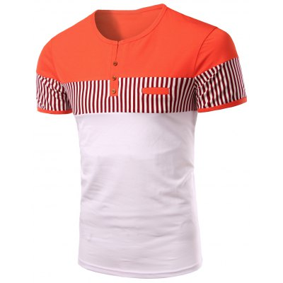 Stripes Round Neck Button Design Color Block Short Sleeves T-Shirt For Men