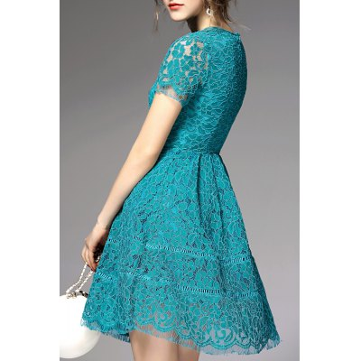 Cut Out Lace DressDesigner Dresses<br>Cut Out Lace Dress<br><br>Style: Cute<br>Occasion: Bridal,Causal,Cocktail &amp; Party,Prom<br>Material: Cotton,Polyester<br>Composition: Outer Composition:80% Cotton,20% Polyester&lt;br&gt;Lining Composition:100% Polyester<br>Silhouette: A-Line<br>Dresses Length: Mini<br>Neckline: Jewel Neck<br>Sleeve Length: Short Sleeves<br>Waist: Empire<br>Embellishment: Hollow Out<br>Pattern Type: Solid<br>Elasticity: Micro-elastic<br>With Belt: No<br>Season: Summer<br>Weight: 0.330kg<br>Package Contents: 1 x Dress