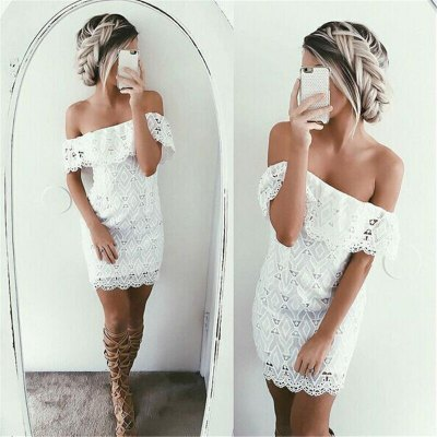 Alluring Off-The-Shoulder White Lace Women's Dress
