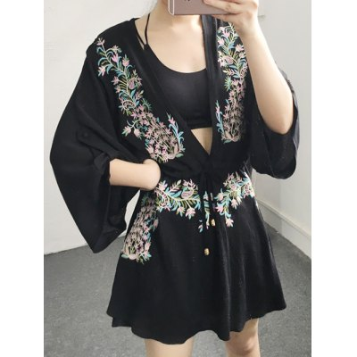 Plunging Neck Long Sleeve Flower Embroidery Dress
