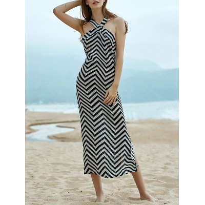 Halter Sleeveless Wavy Striped Dress
