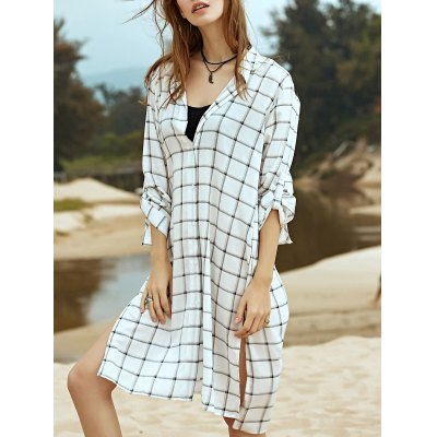 Stylish Shirt Collar Long Sleeve Side Slit Checked Women's Dress